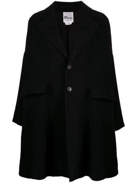 Черное шерстяное длинное пальто оверсайз на пуговицах Comme Des Garçons Noir Kei Ninomiya