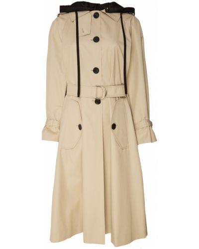 Пальто с капюшоном длинное бежевое Miu Miu