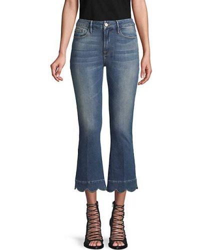 Хлопковые синие укороченные джинсы с карманами Frame Denim