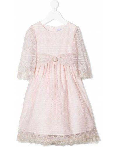 Розовое ажурное платье с рукавами с вырезом на молнии Patachou