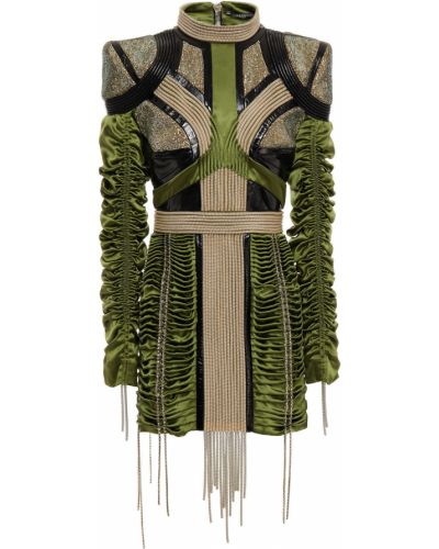 Платье мини атласное - зеленое Balmain