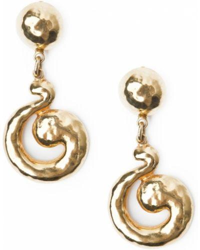 Клипсы металлические - золотые Yves Saint Laurent Vintage
