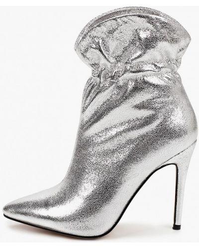 Кожаные ботильоны - серебряные Diora.rim