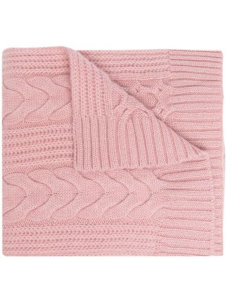 Розовый кашемировый шарф с опушкой N.peal