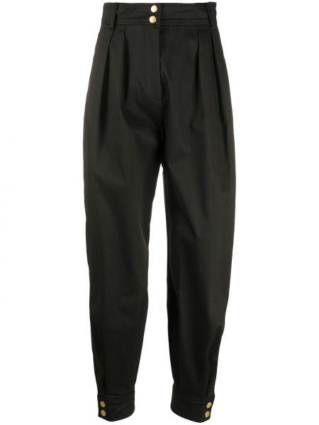 Spodnie z wysokim stanem czarne z kieszeniami Alberta Ferretti