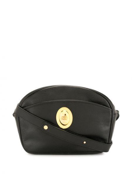 Czarny skórzany torba kosmetyczna z kieszeniami z klamrą Christian Dior
