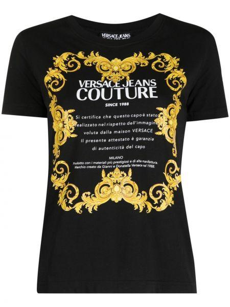 Черная футболка с надписью с вырезом Versace Jeans Couture