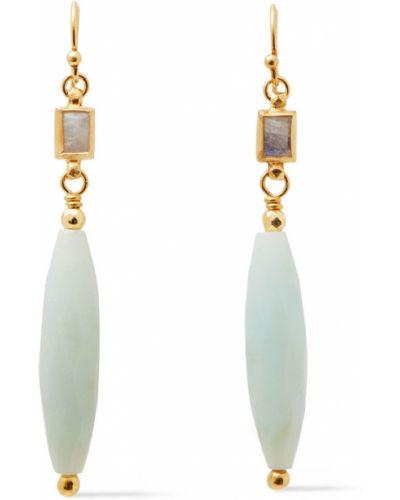 Серьги-гвоздики золотые с камнями на крючках Chan Luu
