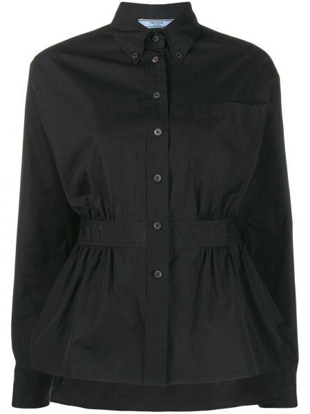Czarna koszula bawełniana z długimi rękawami Prada