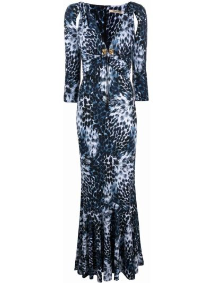 Золотистое синее платье с вырезом Roberto Cavalli