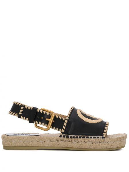 Sandały skórzany czarne Gucci