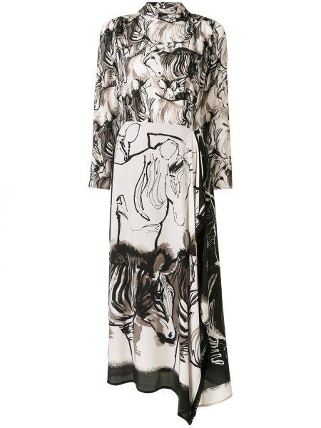 Черное асимметричное платье макси с длинными рукавами с воротником Sara Roka