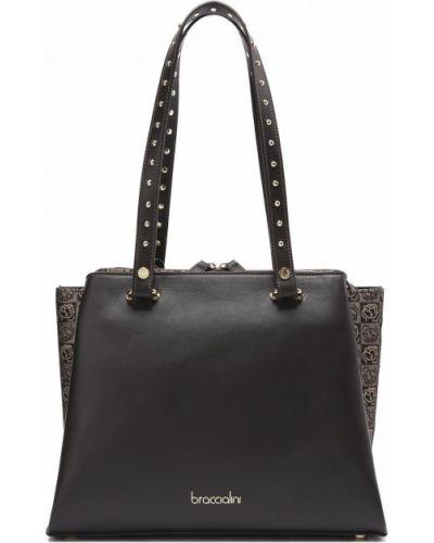 Кожаная коричневая сумка Braccialini