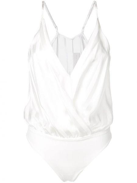 Белое боди с вырезом в полоску Michelle Mason