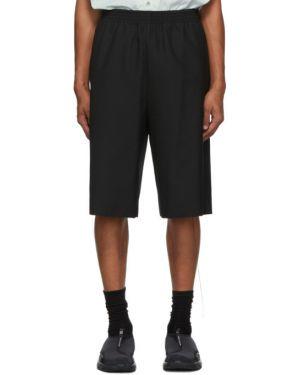 Шерстяные черные короткие шорты на резинке с опушкой Camiel Fortgens