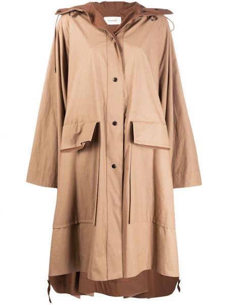 Bawełna klasyczny płaszcz z kapturem z kieszeniami z długimi rękawami Lemaire