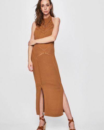 Трикотажное платье макси - коричневое Guess Jeans