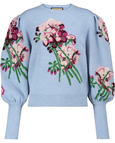 Синяя шерстяная свитер Gucci