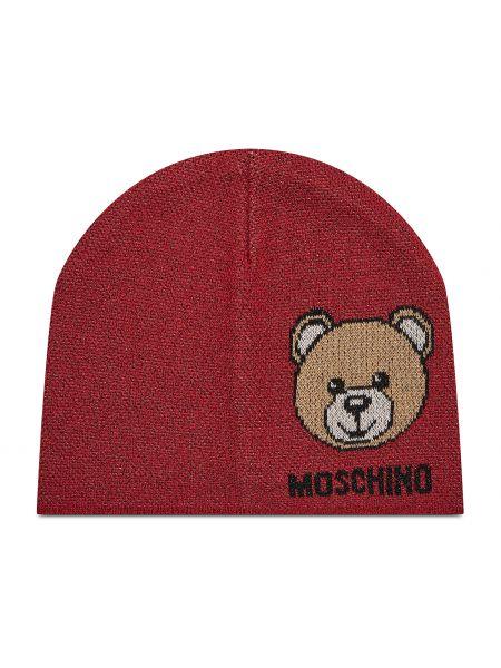 Czerwona czapka Moschino