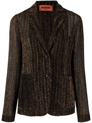 Черный удлиненный пиджак с воротником на пуговицах Missoni