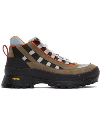 Кожаные черные ботинки трекинговые на каблуке Mcq