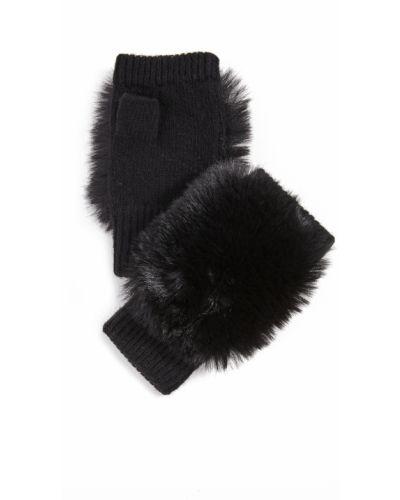 Prążkowane czarne rękawiczki bez palców wełniane Adrienne Landau