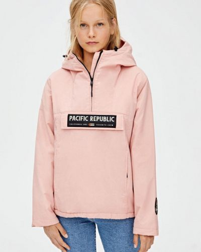 Утепленная куртка осенняя розовая Pull&bear