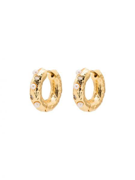 Золотистые желтые серьги-кольца с жемчугом Anni Lu