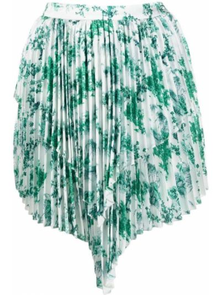 Zielona spódnica plisowana z wysokim stanem asymetryczna Wandering