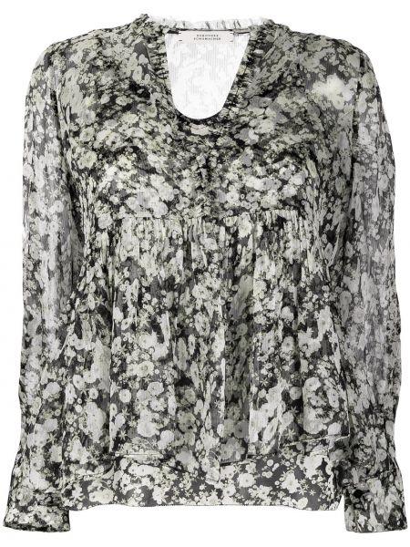 Серая шелковая блузка с вырезом Dorothee Schumacher