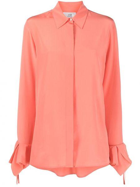 Розовая шелковая рубашка с длинными рукавами Victoria, Victoria Beckham