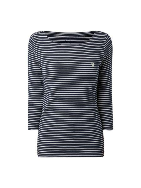 Niebieska bluzka w paski z haftem Tom Tailor