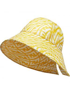 Biały kapelusz bawełniany z printem Fendi