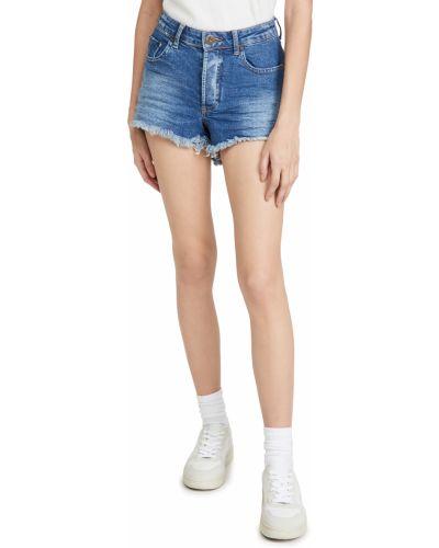 Джинсовые шорты с завышенной талией - синие One Teaspoon