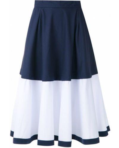 Расклешенная синяя юбка миди с карманами в рубчик Magrella