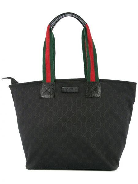 Парусиновая черная сумка-тоут на молнии с карманами Gucci Pre-owned