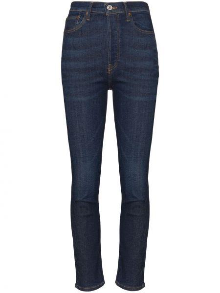 Хлопковые синие укороченные джинсы с пайетками в стиле бохо Re/done