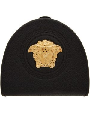 Черная ключница с подкладкой из натуральной кожи с тиснением Versace