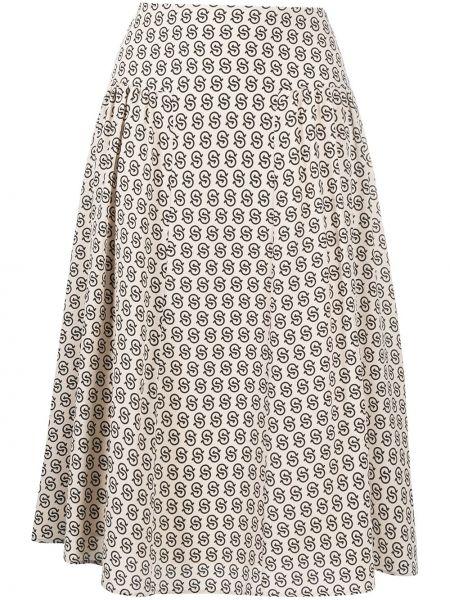 Шелковая с завышенной талией юбка миди Salvatore Ferragamo