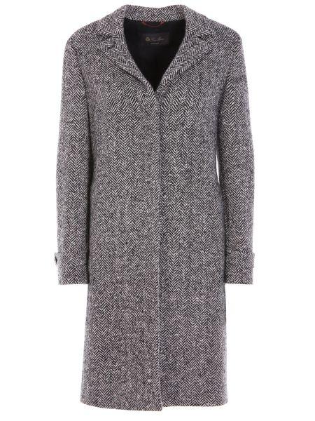 Шерстяное серое пальто с воротником на пуговицах Loro Piana