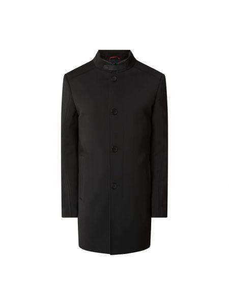 Czarny płaszcz z kieszeniami z zamkiem błyskawicznym od płaszcza przeciwdeszczowego Cinque