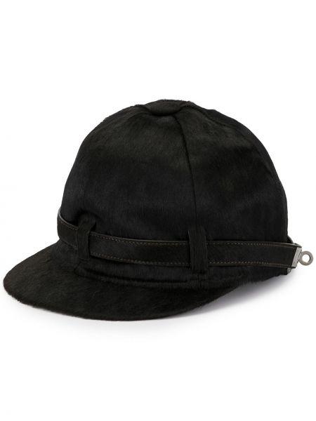 Прямая шерстяная черная кепка с поясом Hermès
