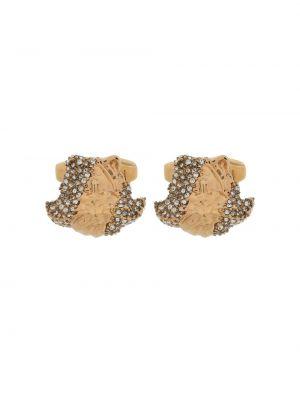 Золотистые запонки золотые металлические Versace
