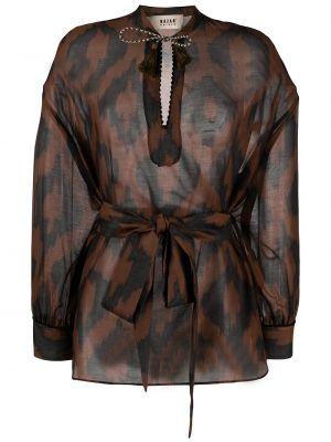 С рукавами шелковая блузка с воротником Bazar Deluxe