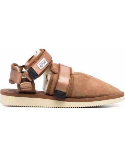 Sandały zamszowe - brązowe Suicoke