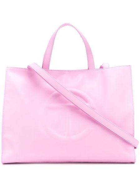 Różowa torba na ramię skórzana Telfar
