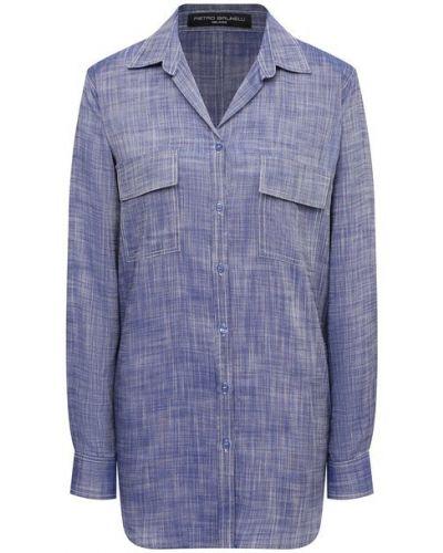 Синяя блузка из вискозы Pietro Brunelli