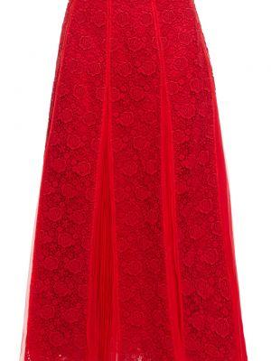 Кружевная шифоновая плиссированная юбка миди Valentino