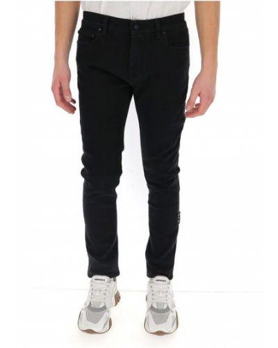 Czarne jeansy w paski z printem Off-white