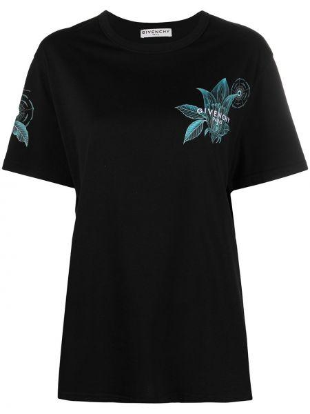 Bawełna z rękawami czarny koszula z haftem Givenchy